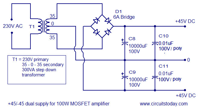 2000w power amplifier circuit diagram scooter controller schematic mosfet 1t schwabenschamanen de 100w using irfp240 irfp9240 rh circuitstoday com simple
