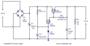 Regulated DC power supply using transistors