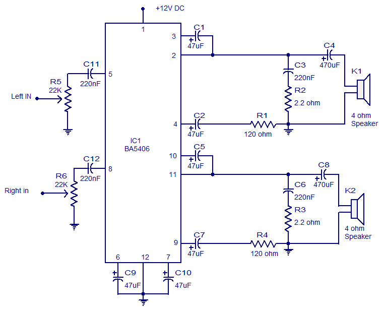 fm wireless microphone circuit diagram pontoon boat 5x2 watt ba5406 stereo amplifier . operates from 9v dc. low distortion.