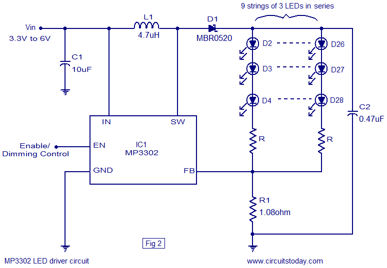 led light circuit diagram for dummies 1993 f150 engine driver based on mp3302 ic working