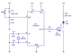 Blinking LED using 8051 Circuit diagram and Programs