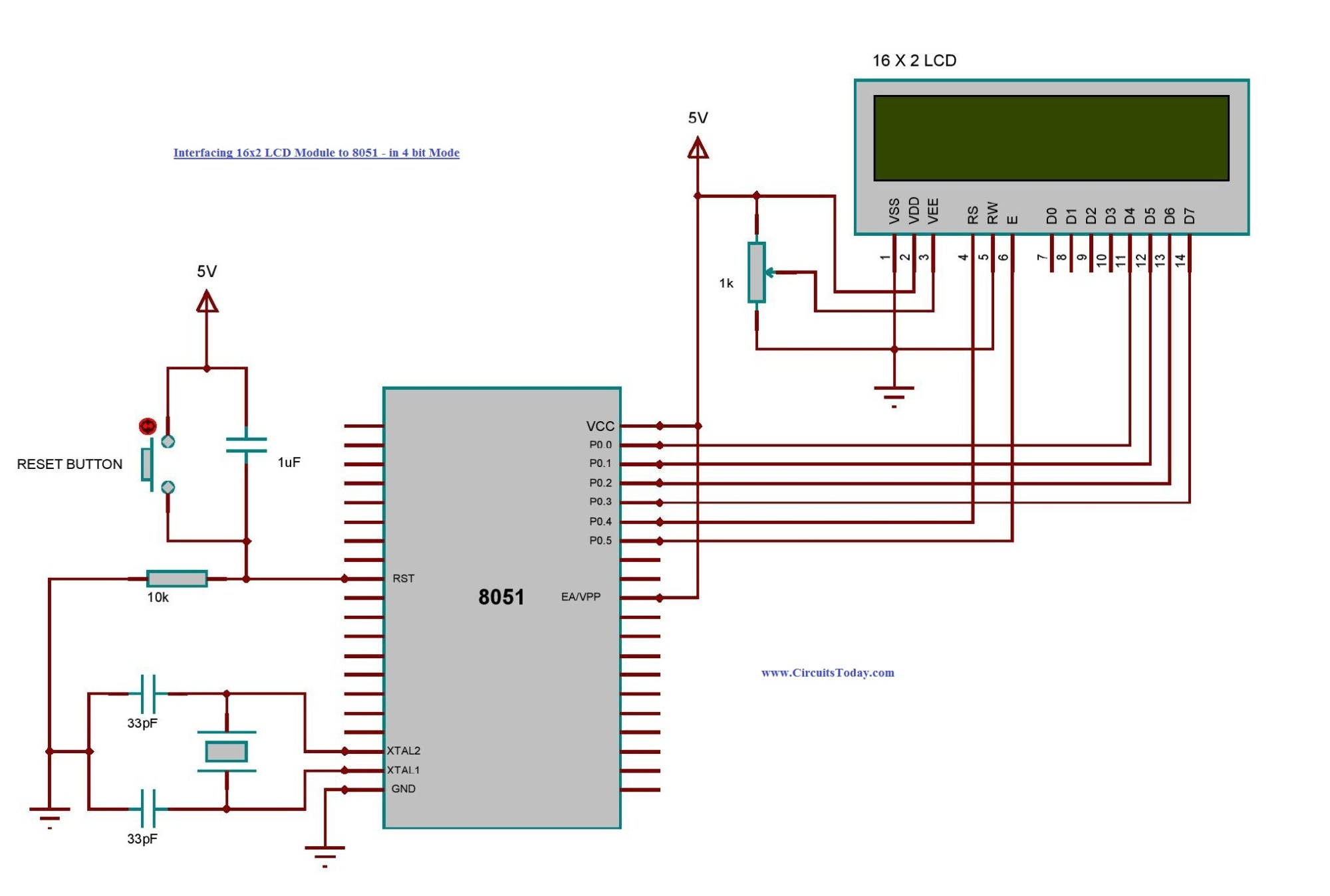 hight resolution of interfacing 8051 to 16x2 lcd module in 4 bit mode