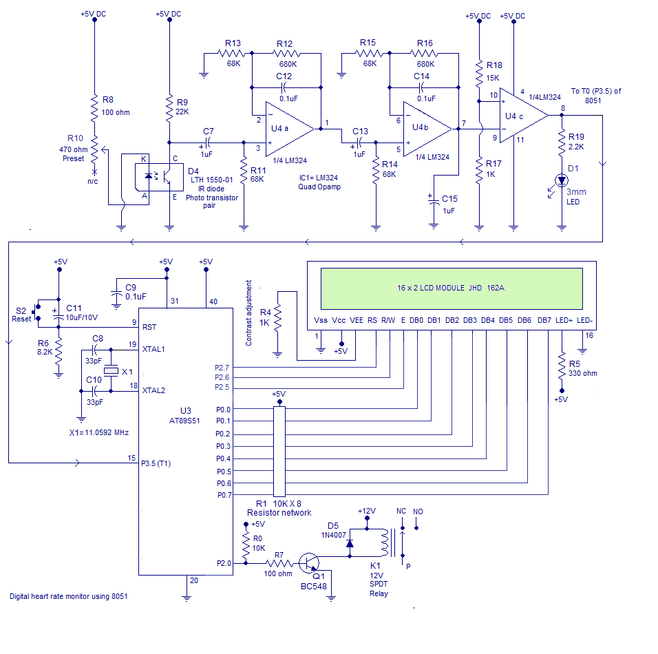 hight resolution of circuit diagram heart rate monitor using 8051
