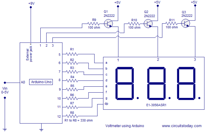 simple 05v three digit voltmeter using arduino 50mv