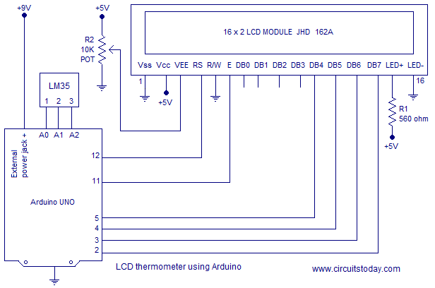 arduino lcd screen wiring diagram 94 mustang gt fuse interfacing to tutorial display on thermometer using