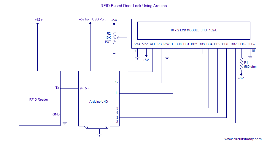 arduino lcd screen wiring diagram stuffy nose simple rfid based door lock using with display the circuit