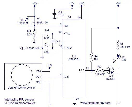 pir security light circuit diagram basic race car wiring interfacing sensor to 8051-diy intruder alarm using and 8051