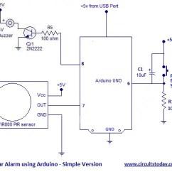 Motion Sensor Light Switch Wiring Diagram Asco 918 Arduino Burglar Alarm Using Pir With Sms