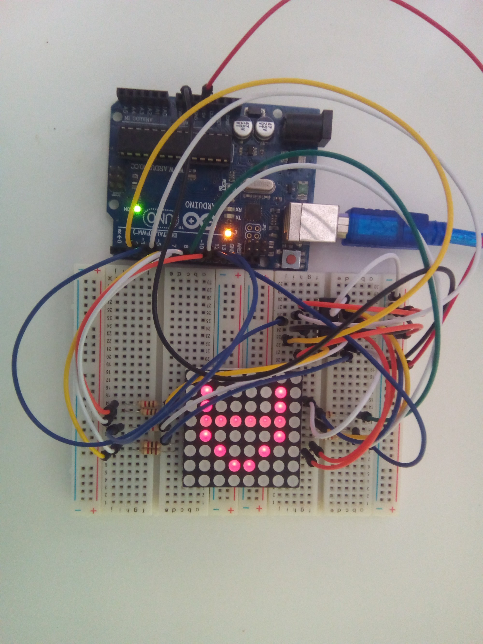 hight resolution of 8x8 led matrix interface with arduino breadboard circuit