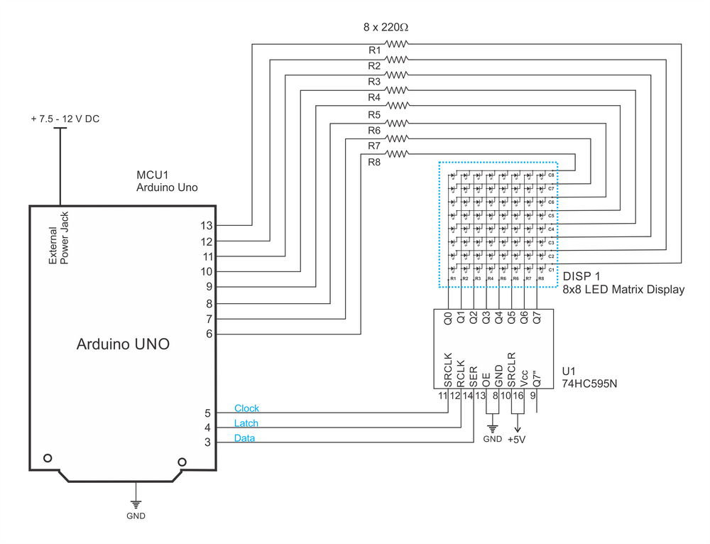 circuit diagram of 8x8x8 rgb led cube