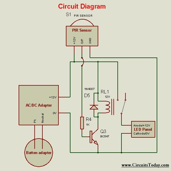 Motion Sensor Circuit Diagram For Lighting