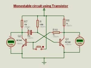 Transistor Circuits in Proteus  as Switch,Bistable