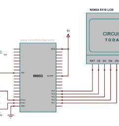 circuit diagram nokia 5110 lcd to 8051 micro controller [ 2052 x 1257 Pixel ]