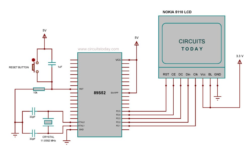 medium resolution of circuit diagram nokia 5110 lcd to 8051 micro controller