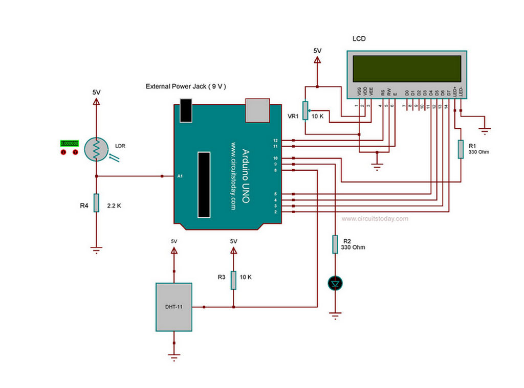 arduino lcd screen wiring diagram 2008 kia spectra stereo smart brightness control using and ldr circuit