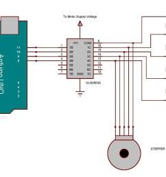 arduino stepper motor interfacing circuit diagram [ 1400 x 844 Pixel ]