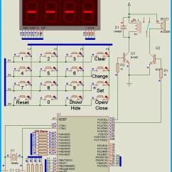 Seven Segment Pin Diagram Baseboard Heater Wiring Keypad Door Lock Using Avr Microcontroller - Atmega16 Circuit