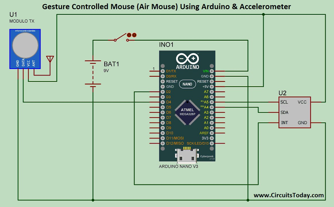 hight resolution of air mouse gesture controlled mouse circuit