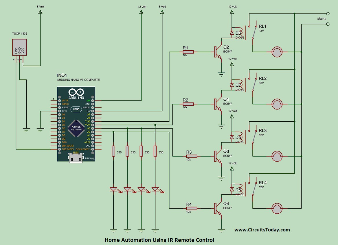 hight resolution of home automation using ir remote control working pcb code circuit download image remote control light switch circuit diagram pc android