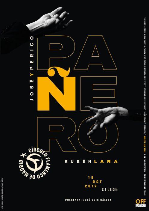 Imagen describiendo el cartel del encuentro del 19/10/2017 en el Círculo Flamenco de Madrid. Consiste en: concierto de Jose Pañero, Perico Pañero y Rubén Lara, presentado por José Luis Gálvez. Diseño del cartel por María Artigas.