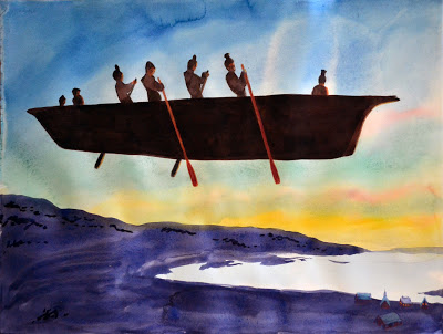 The Last Umiak Watercolor Ken Leslie