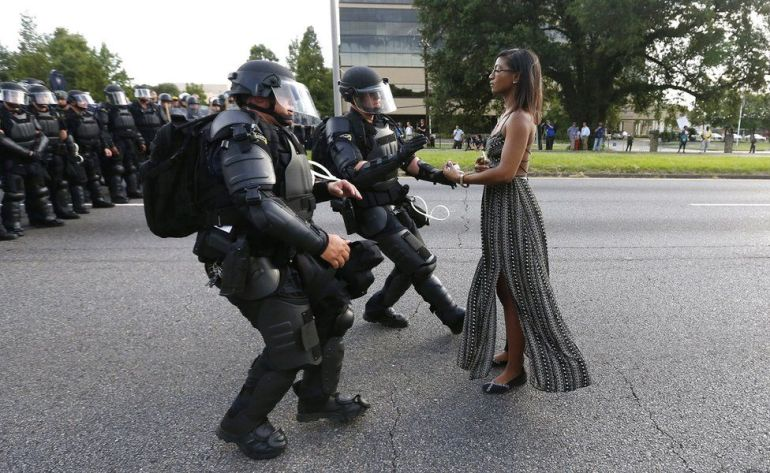 Police meet protestor at Baton Rouge / Credit: Jonathan Bachman, Reuters