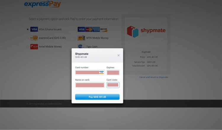 Shypmate, peer-to-peer international delivery to Ghana and Nigeria, Expresspay options