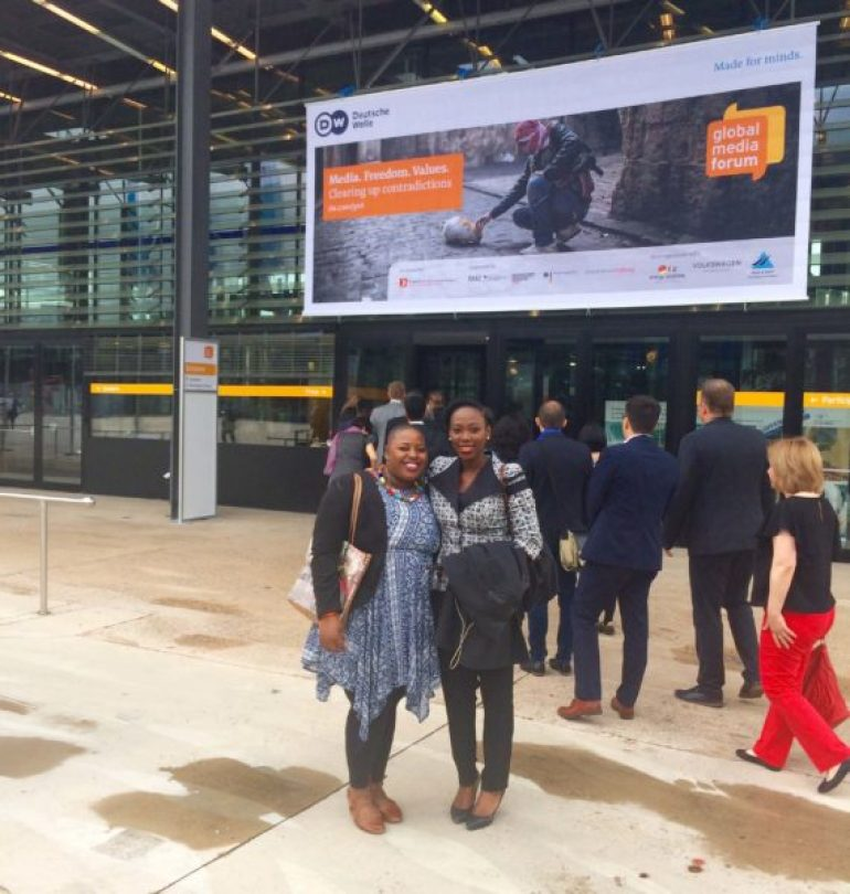 Circumspecte founder Jemila Abdulai with fellow African blogger Amukelani Mayimele at Deutsche Welle's Global Media Forum in Bonn, Germany.