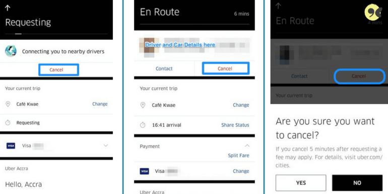 Using Uber app in Ghana - Canceling ride