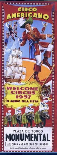 affiche du Circo Americano, cirque monumental, en 1957
