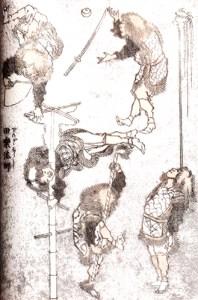 acrobates au mât - Saltimbanques d'Hokusai