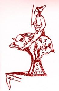 Beketow sur son cochon - Année 1900 au Cirque