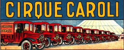 Papier à lettre avec les camions de Caroli - les cirques motorisés