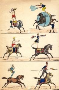 Acrobates à cheval au XIX ème siècle - Archives Arlequin