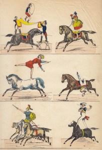 acrobates à cheval - gravure