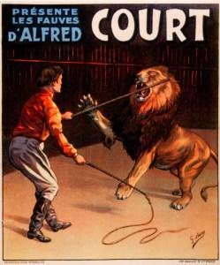 Affiche d'Alfred Court et un lion - Paix dans la Jungle