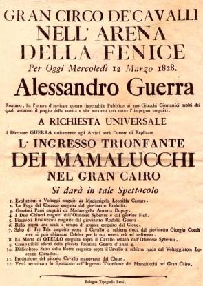 Affiche en italien 1828