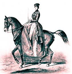 Pauline à cheval en amazone
