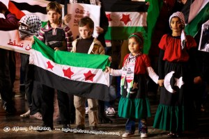 Palestine kids with Palestinians flags