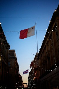 Valletta,Malta,flags,Republic street