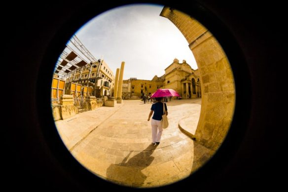 Alan Falzon, Circus Malta,Red umbrella, fisheye.