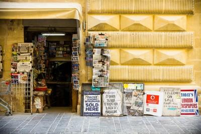 Valletta's older news agent.
