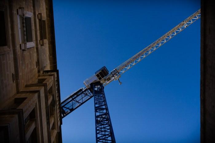 Crane and blue sky.