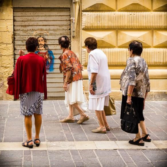 Old women, Jesus, Graffiti