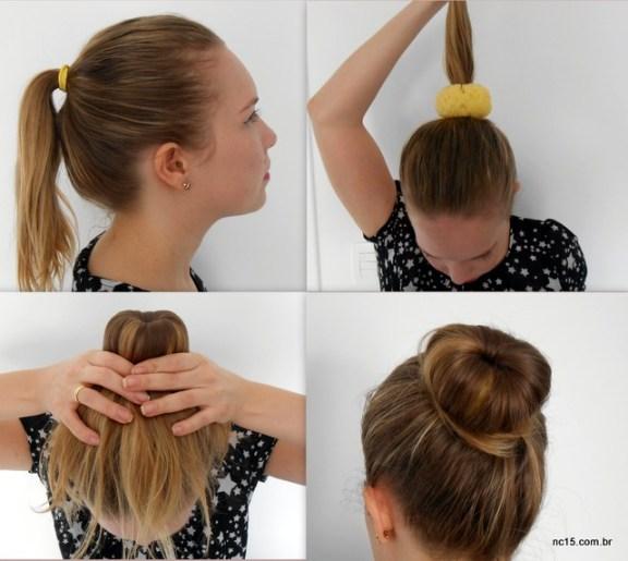 1- rabo de cavalo; 2- passao donut; 3- espalha o cabelo e prende com um elástico; 4- finalizar com grampos