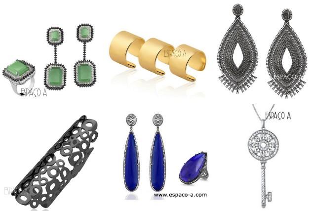 semi jóias em ouro, ródio negro e zircônia da loja Espaço A semi jóias