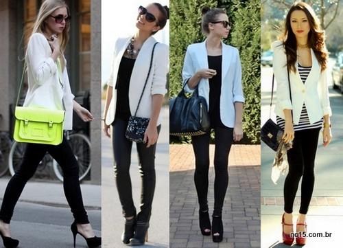 Blazer branco com calça preta