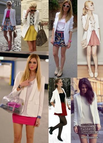 Blazer branco com saia