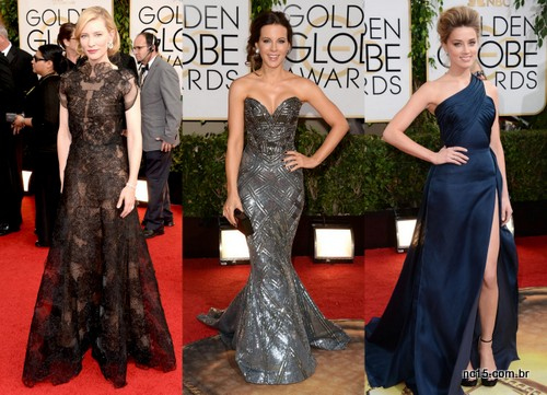 Imagens: E Online Cate Blanchett, usando Armani Kate Beckinsale, usando Zuhair Murad Amber Heard, usando Versace