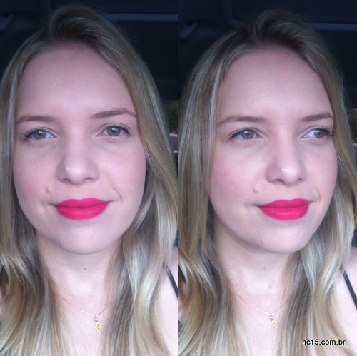 Batom Relentlessly Red da MAC na minha boca no clique feito dentro do carro mesmo